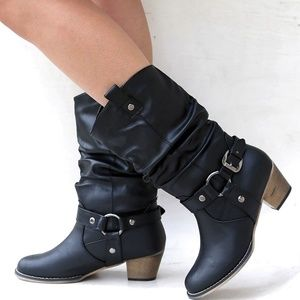 Shoes - New Black Western Mid-Calf Slouchy Cowboy Boots